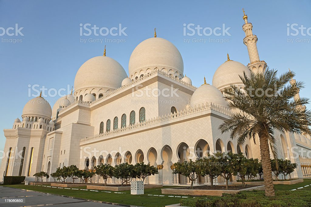 Abu Dhabi Sheikh Zayed Mosque Exterior in the daylight stock photo