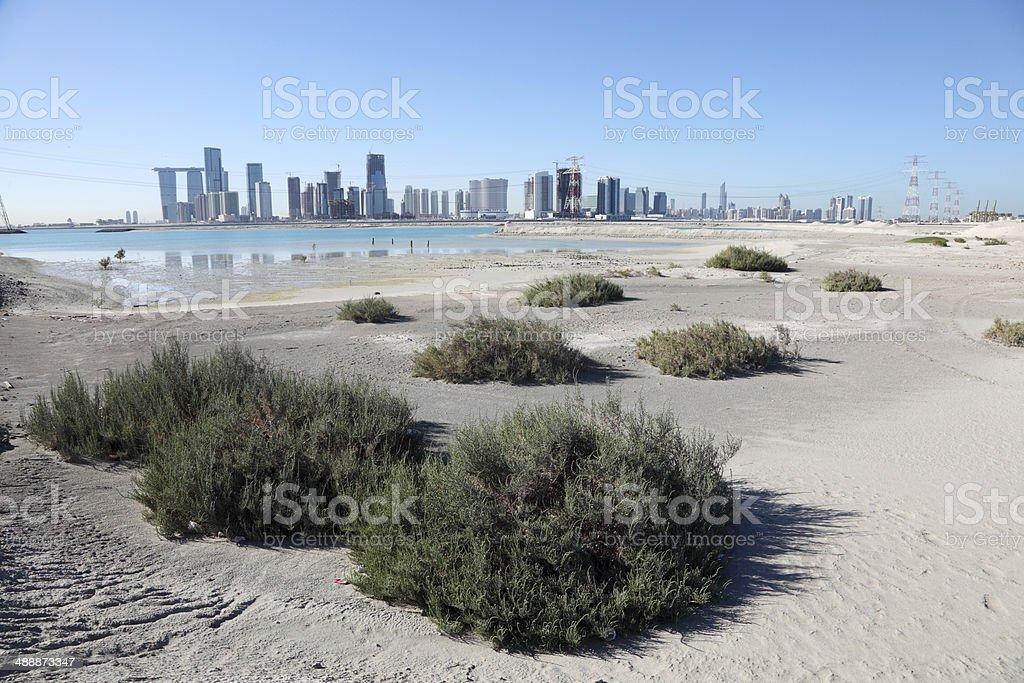 Abu Dhabi skyline from Saadiyat Island stock photo
