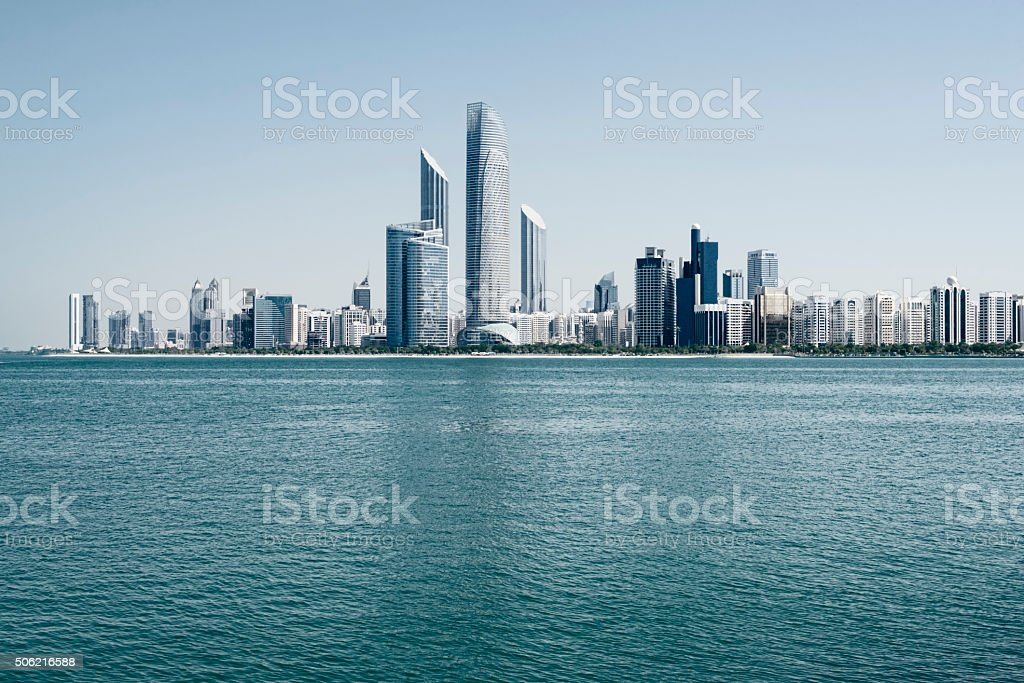 Abu Dhabi skyline, United Arab Emirates stock photo