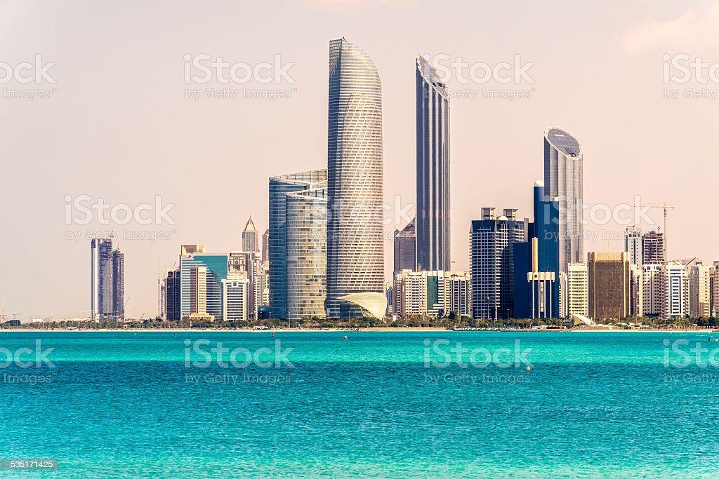Abu Dhabi Skyline, United Arab Emirates stock photo