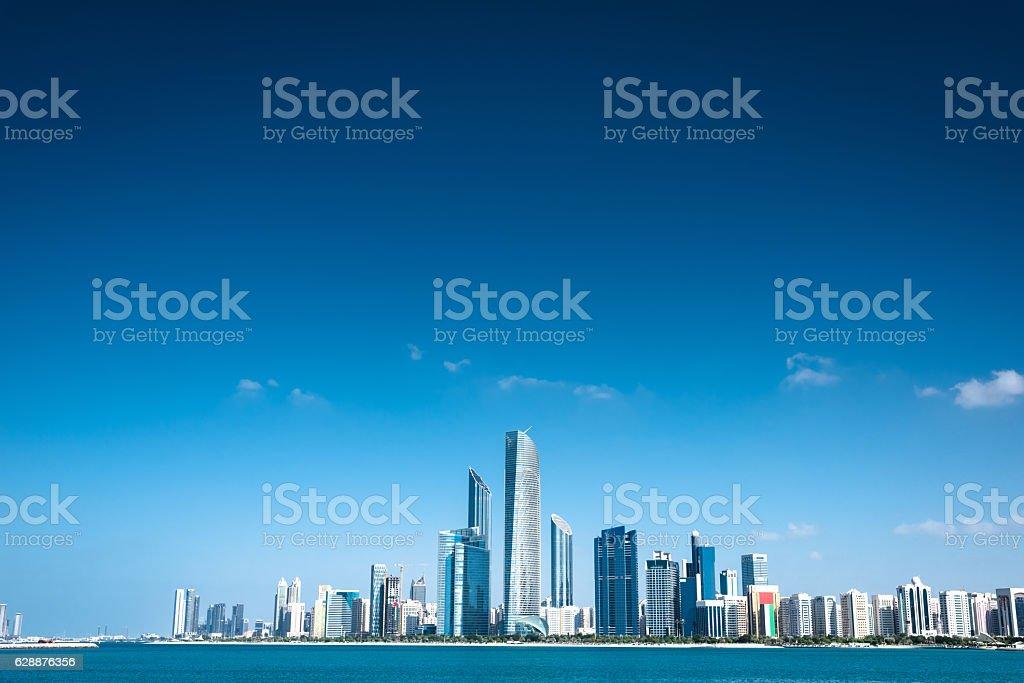 Abu dhabi skyline waterfront stock photo