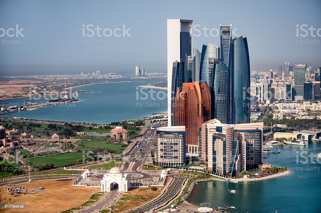 Abu Dhabi skyscrapers stock photo