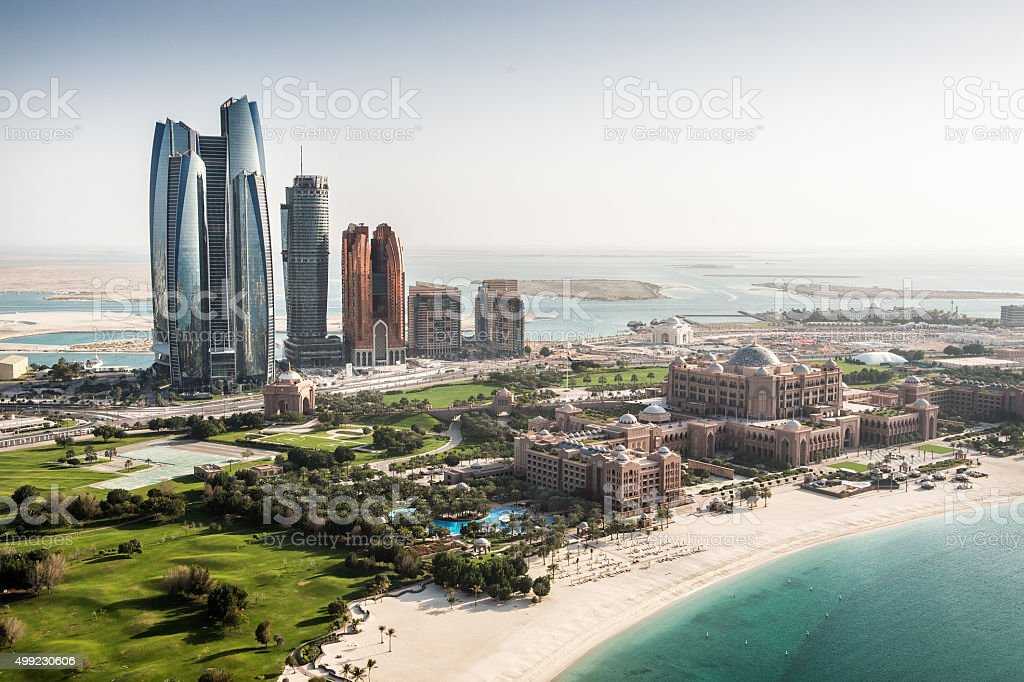 Abu Dhabi skyscrapers viewed from the air stock photo