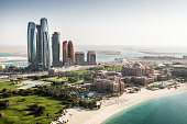 Abu Dhabi skyscrapers viewed from the air