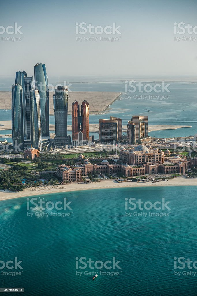 Abu Dhabi skyscrapers viewed from the helicopter stock photo