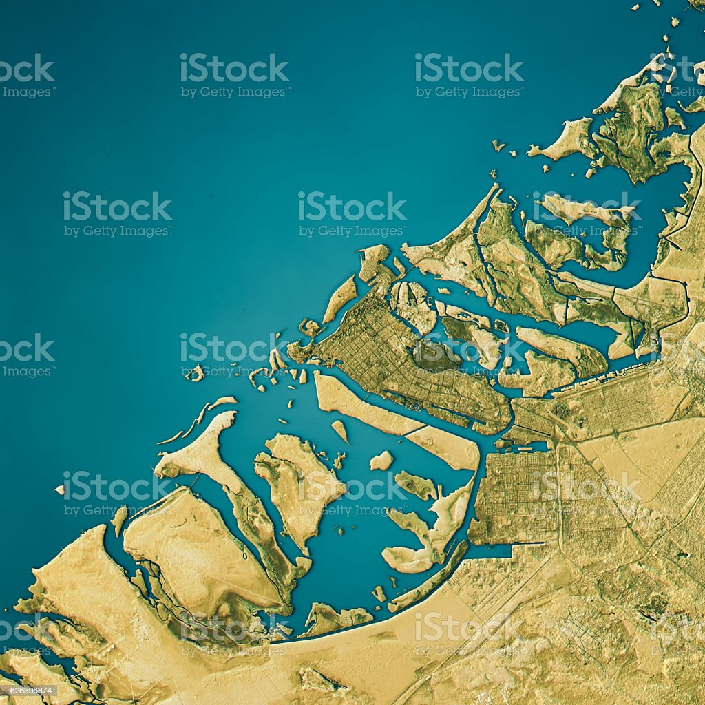 Abu Dhabi Topographic Map Natural Color Top View stock photo