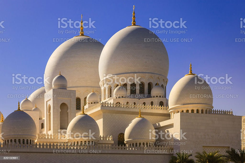 Abu Dhabi, UAE - Zayed Mosque domes, external view stock photo