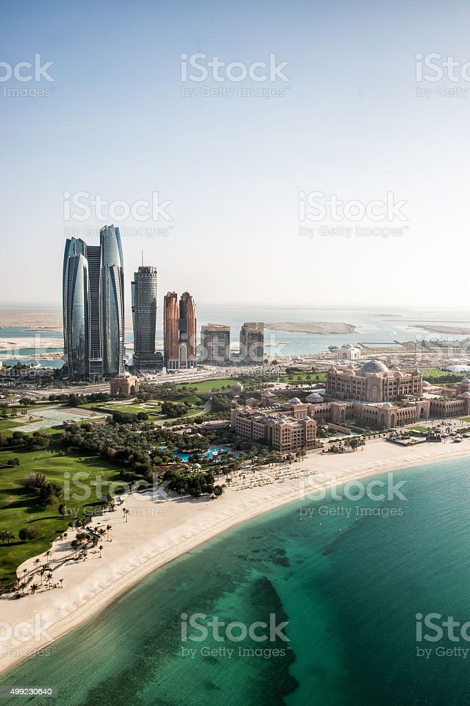 Abu Dhabi viewed from the helicopter stock photo