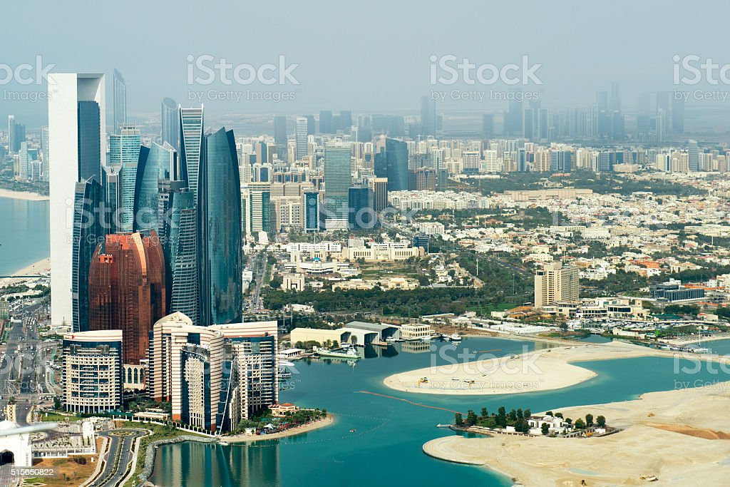 Abu Dhabi viewed from the sky stock photo