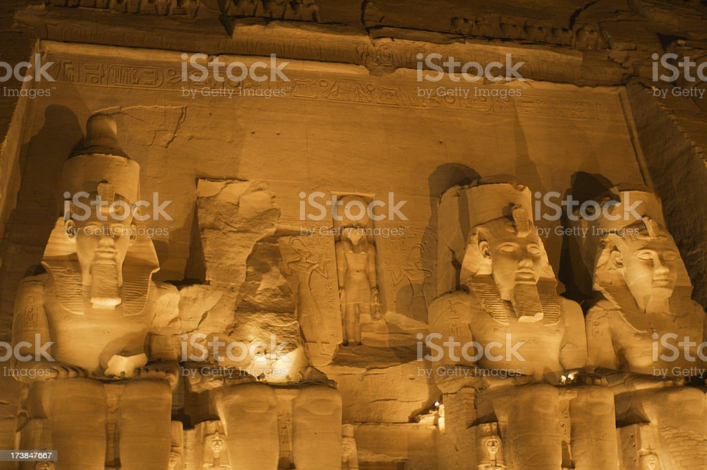 Abu Simbel at night stock photo