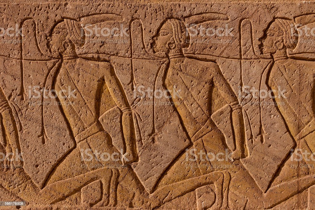Abu Simbel carvings slaves stock photo