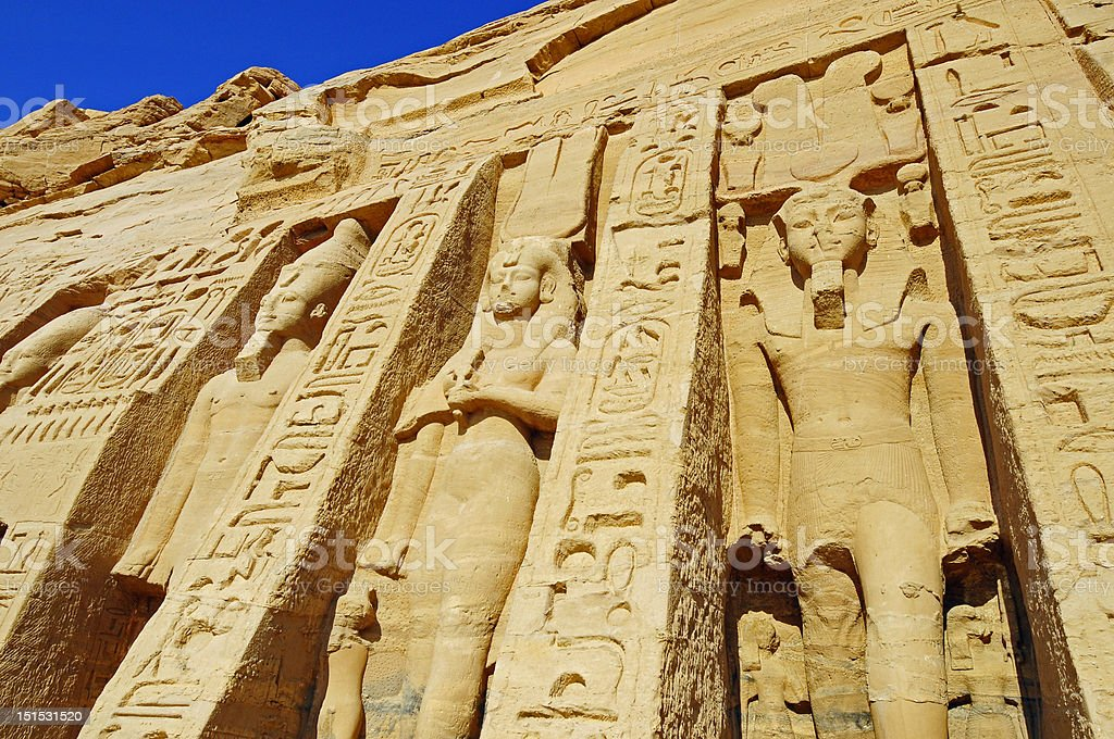 Abu Simbel monument and statues in Egypt royalty-free stock photo
