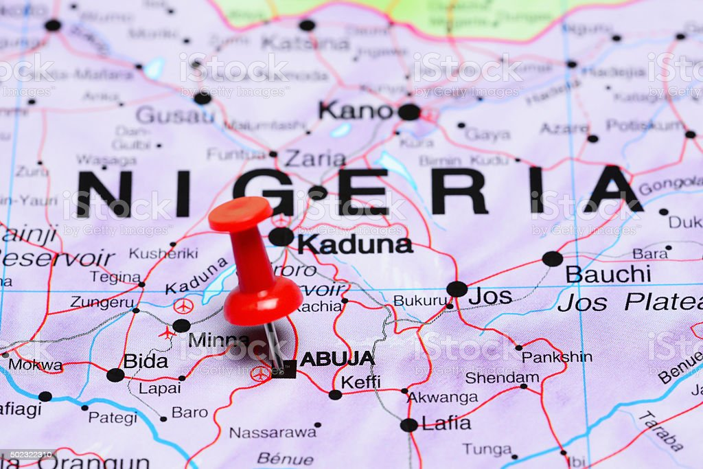 Abuja pinned on a map of Africa stock photo