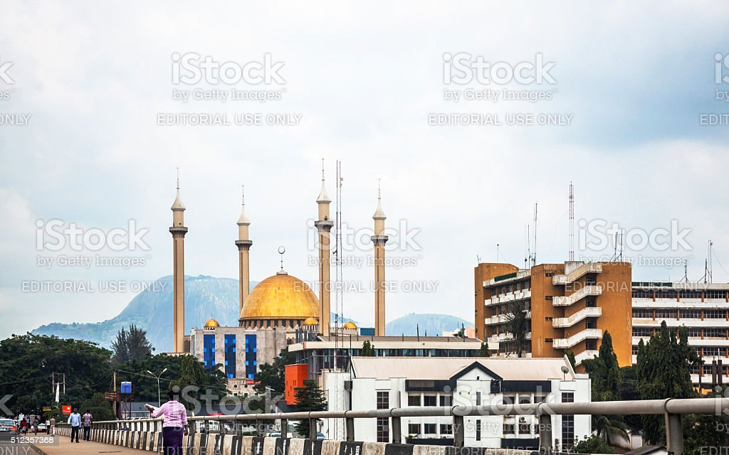 Abuja view with National Mosque, Nigeria. stock photo