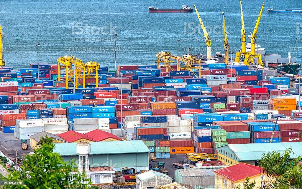 Abundance of Danang harbor stock photo