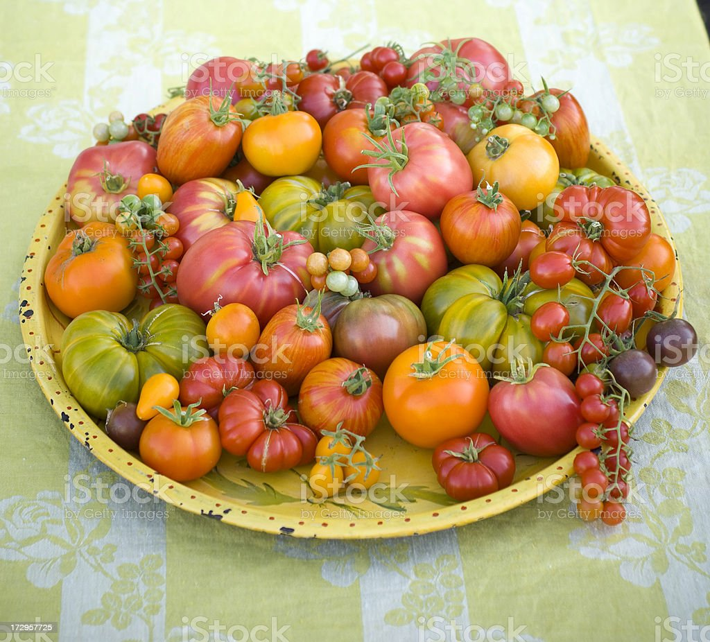 Abundance of Heirloom Tomatoes royalty-free stock photo