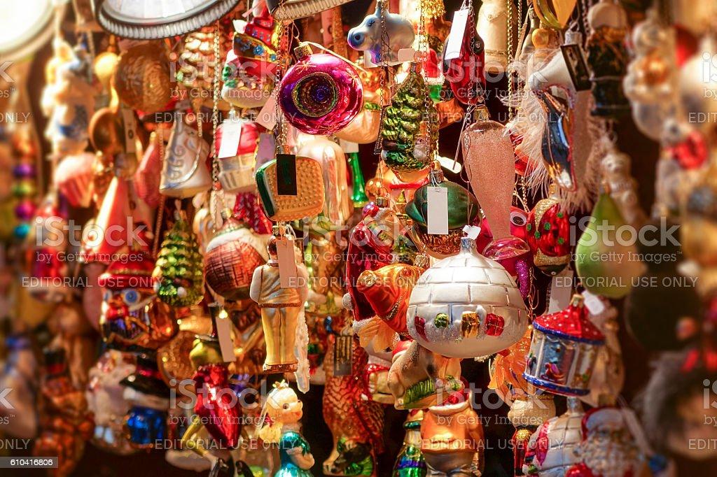 Abundance-of-colorful-hanging-Christmas-decorations stock photo