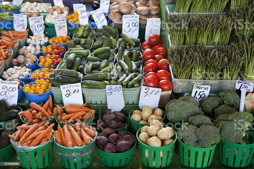 Abundant fresh produce at a farmers market royalty-free stock photo