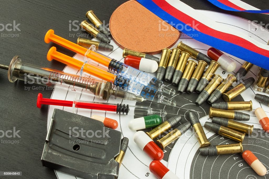 Abuse of anabolic steroids for sports. Deception in biathlon. stock photo