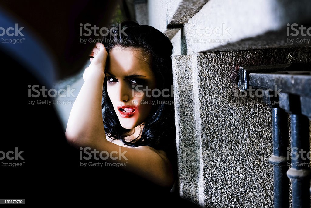 Abused woman defending herself stock photo