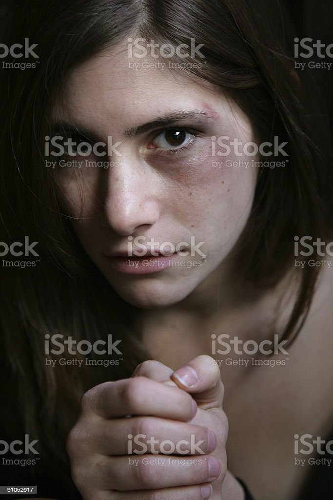 Abused woman stock photo