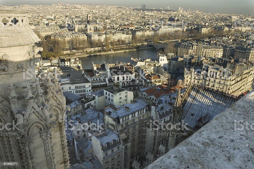 Abyss right in the back of Notre-Dame cathedral, Paris royalty-free stock photo