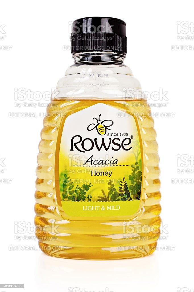 Acacia Honey Bottle stock photo