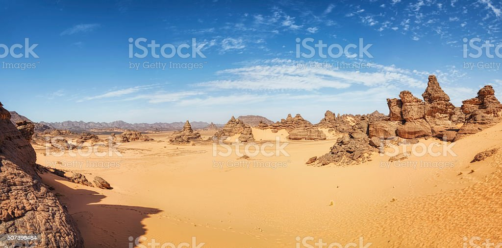 Acacus Mountains in the desert of Ghat District , Libya , Sahara stock photo