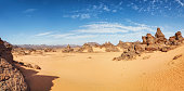 Acacus Mountains in the desert of Ghat District , Libya , Sahara