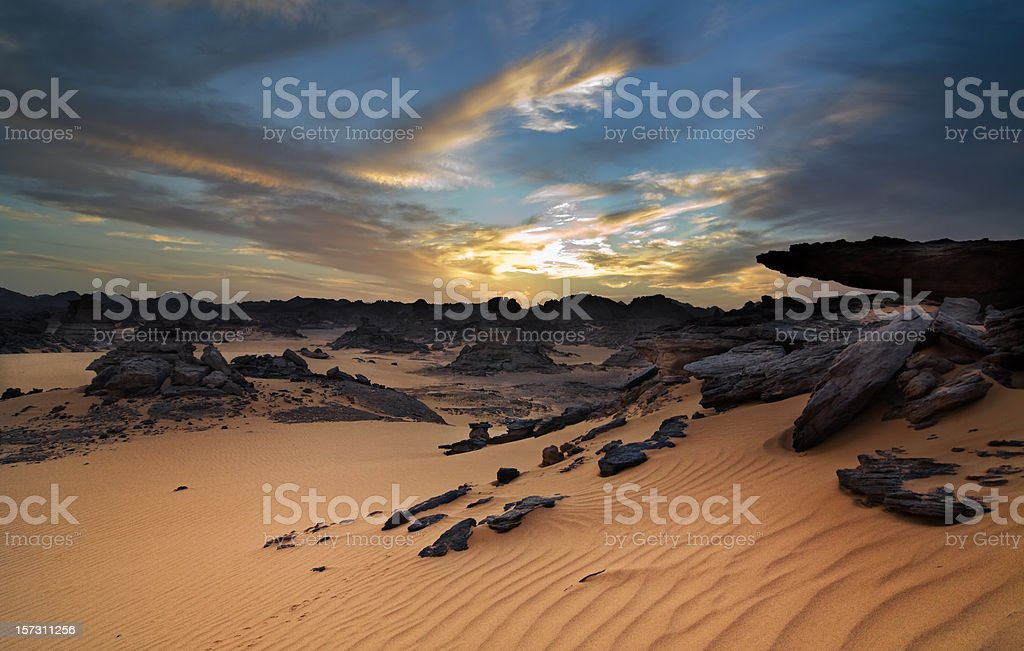 Acacus Mountains or Tadrart Acacus on Libya Desert stock photo