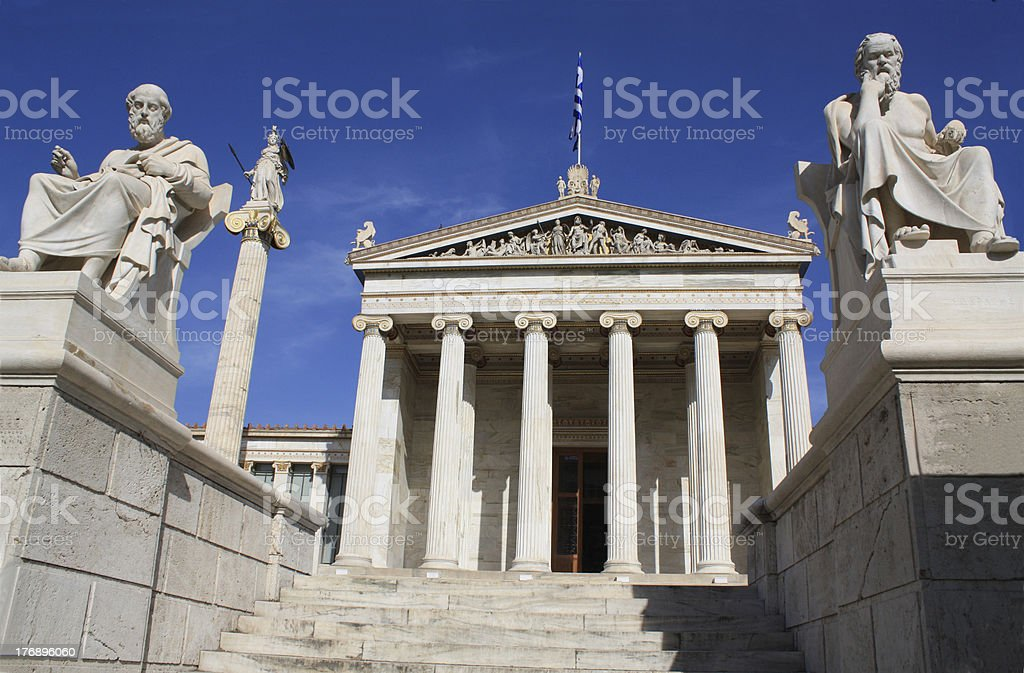 Academy of Athens, Greece, with Socrates, Plato and Athena stock photo