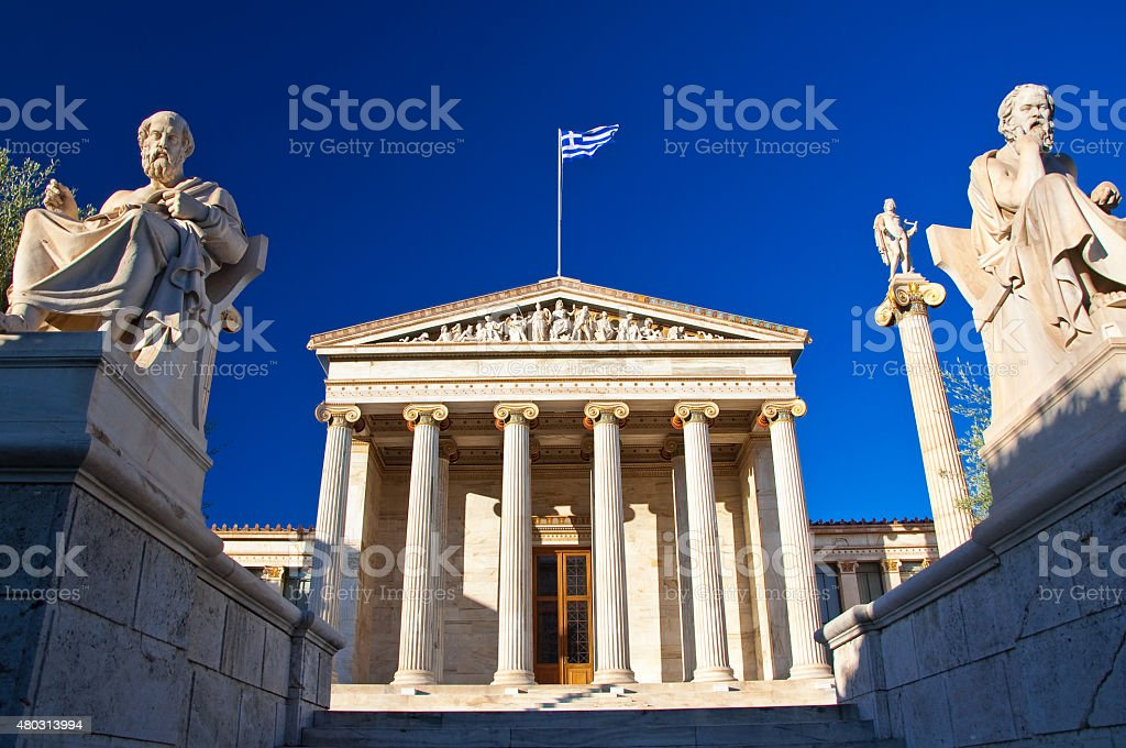 Academy of Athens with Plato and Socrates monument. stock photo