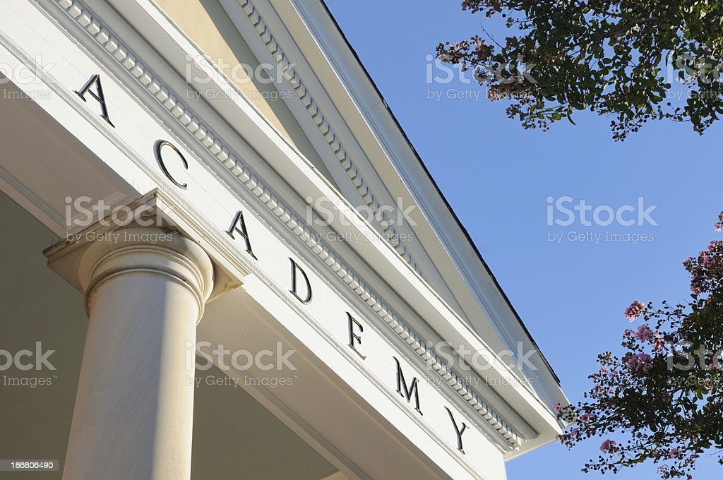Academy sign on building stock photo