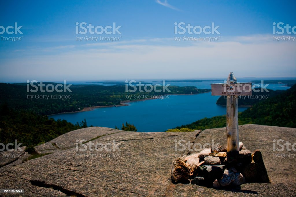Acadia Mountain Summit Marker stock photo