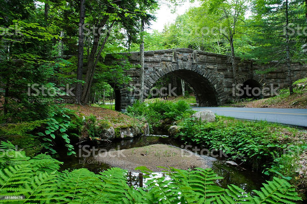 Acadia National Park Bridge in Maine stock photo