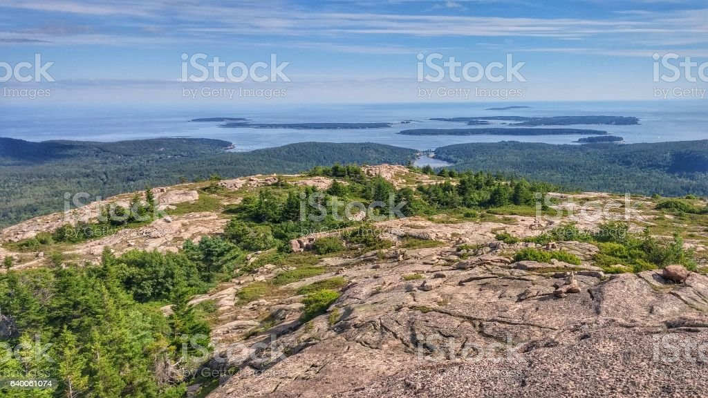 Acadia National Park Mountain Summit, views of Islands, Maine Wilderness stock photo