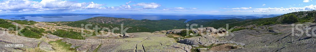 Acadia National Park Panorama of Frenchman Bay, Maine, USA stock photo