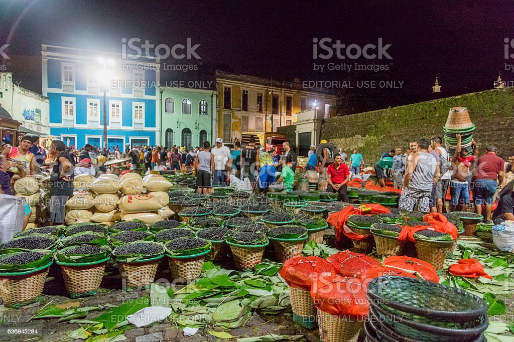 Acai Market in Belem City stock photo