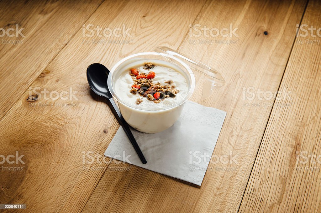 Acai Yoghurt with Granola stock photo