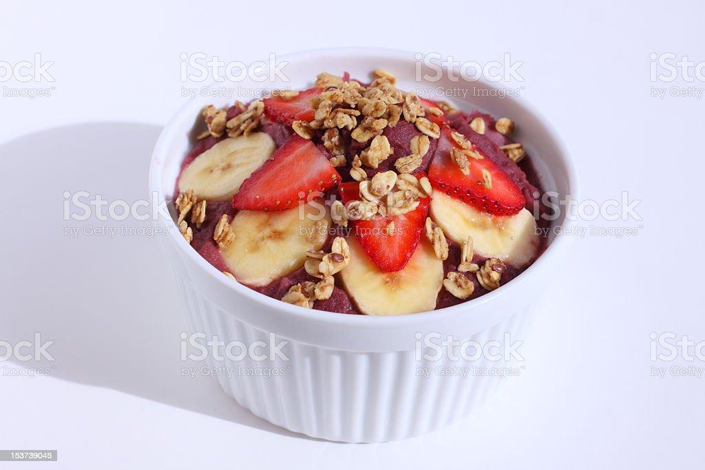 Acai Yogurt Bowl with Fruit and Granola stock photo