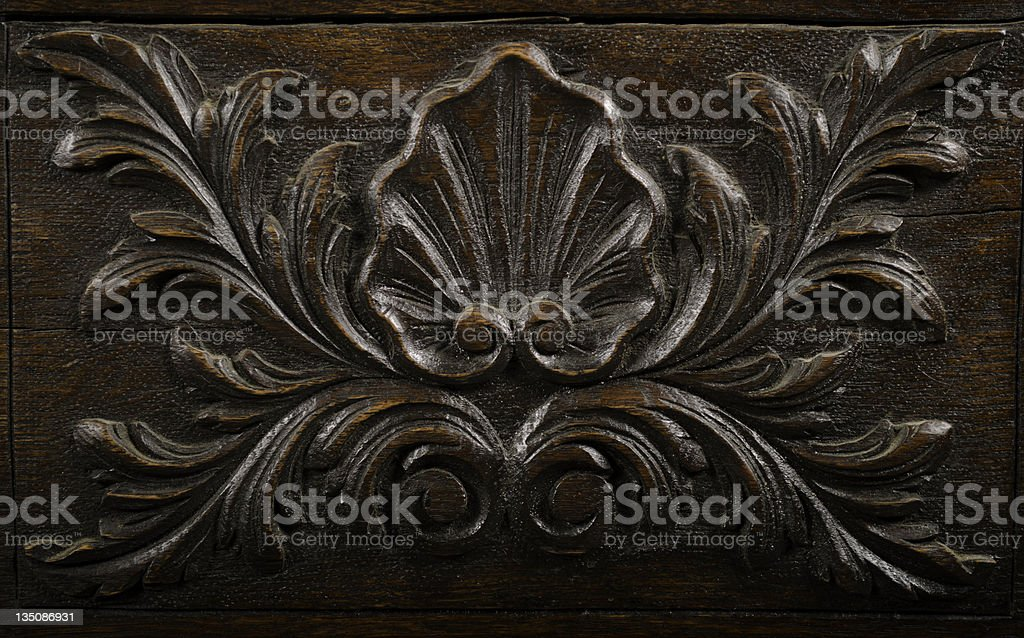 Acanthus Leaf and Shell Wood Carving stock photo
