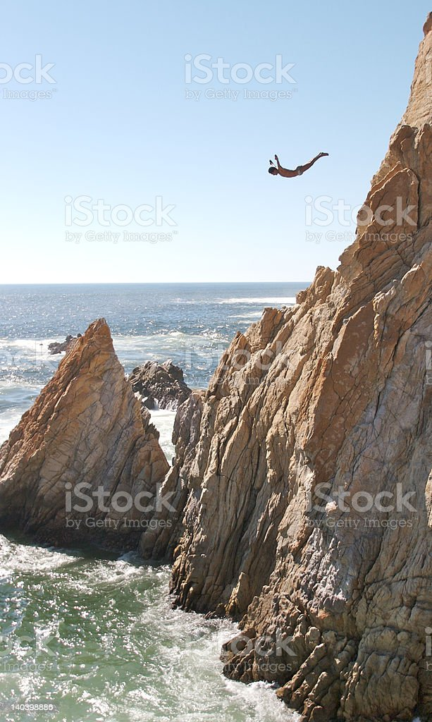 Acapulco Cliff Diver stock photo