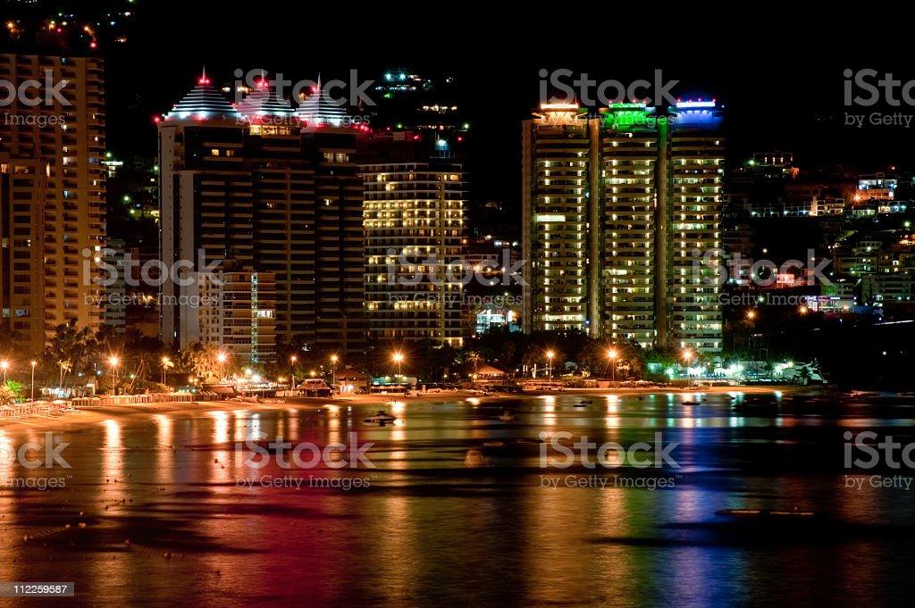 Acapulco Skyline night stock photo