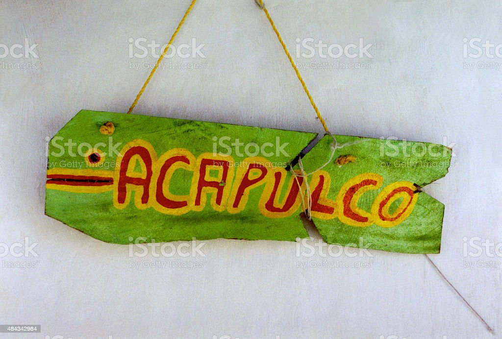 Acapulco wooden sign board in Tulum, Mexico stock photo