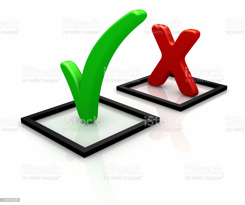 Accept and decline check marks as 3D icons stock photo