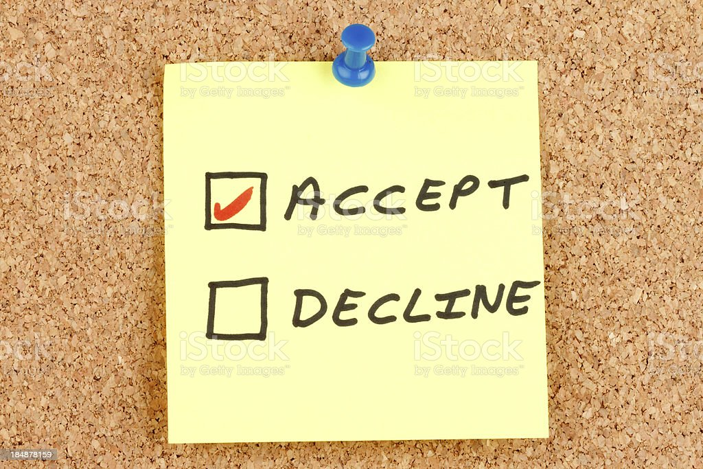 Accept and Decline Checkboxes on an Adhesive Note stock photo