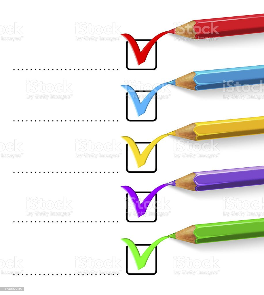 Accept check list with coloured pencils royalty-free stock photo
