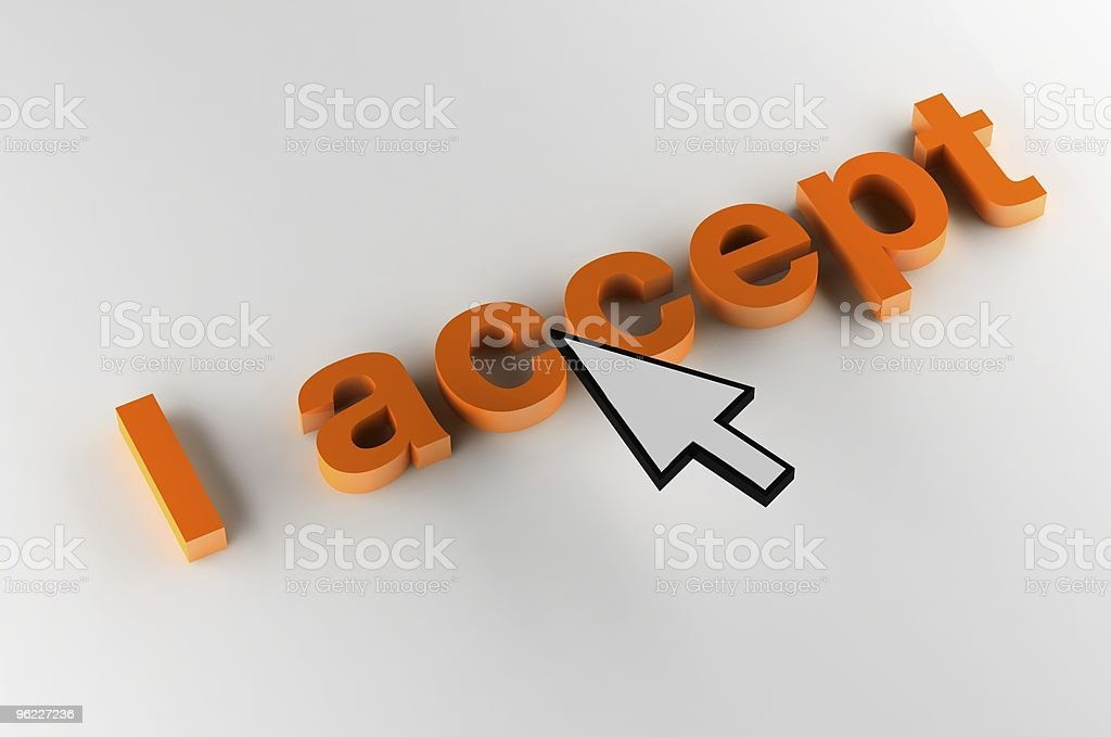 I accept (isolated on gray) royalty-free stock photo
