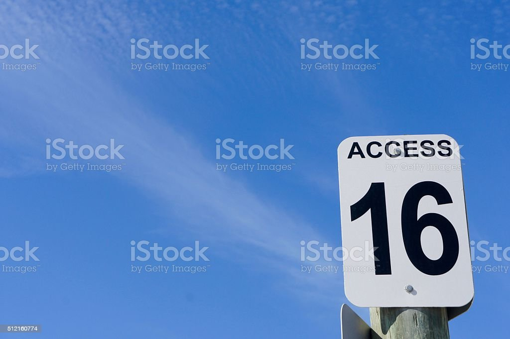 Access 16 Sign stock photo