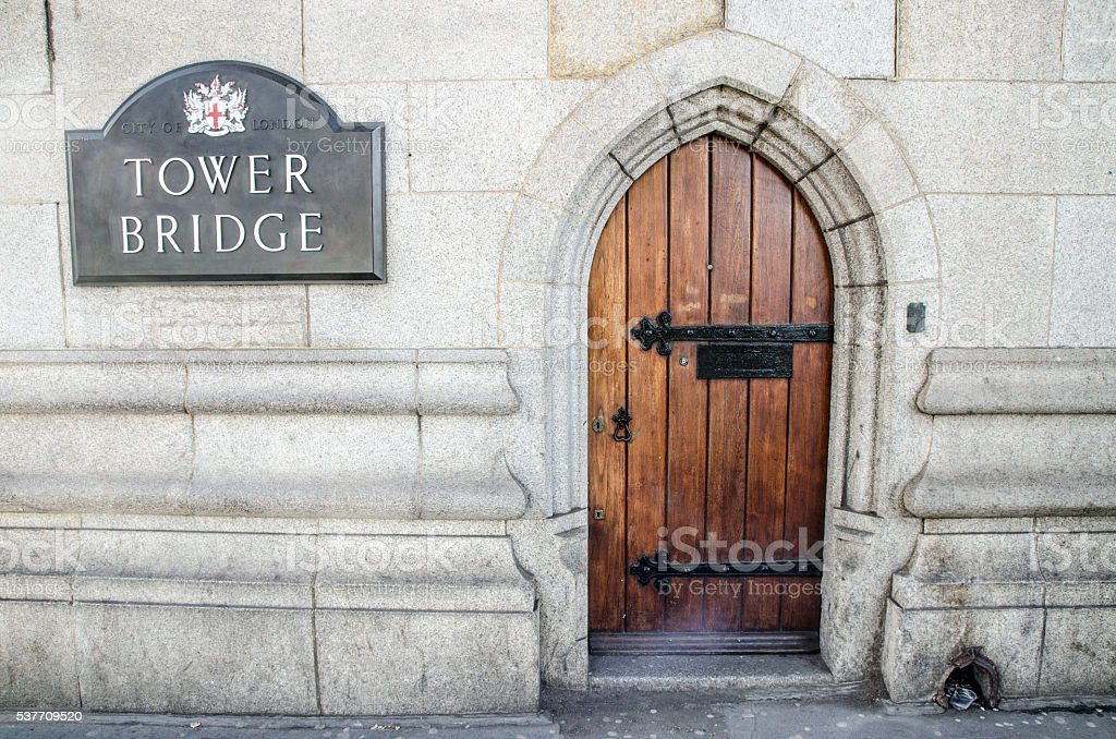Access door to glass see-through walkway of London Tower Bridge stock photo